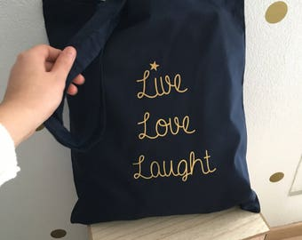 Tote bag Navy Blue and gold, love quote, live, laught, customizable