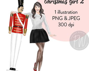 Watercolour Fashion Illustration, Christmas girl 2, Printable art, fashion clipart, instant download, fashion print, girl logo