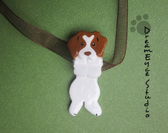 Brittany Dog Spaniel Hangin' On Artist Hand-made Clay Pendant F4
