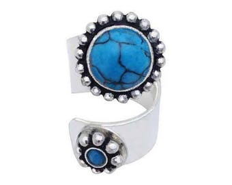 Ring silver sterling turquoise howlite stone