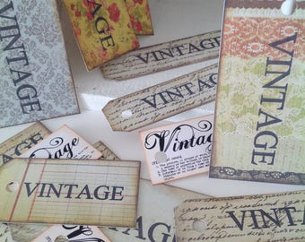 15 assorted VINTAGE gift tags
