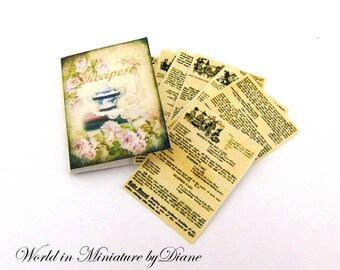 "PDF Dollhouse Recipe Book, 1:12 Recipe Book Digital Download, Dollhouse Food, Dollhouse Victorian, Scale 1"" Miniatures"