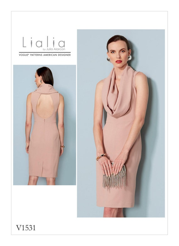 Sewing Pattern Misses\' COWL-NECK, Open Back DRESS, Vogue Pattern ...