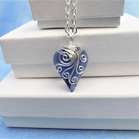 Blue Heart Necklace Unique Wire Wrap Crystal Pendant Artisan Crafted Artistic Handmade Jewelry Birthday Anniversary Present Ideas for Women