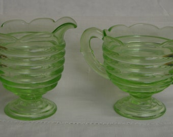 "Vintage Green Creamer and Sugar~Triple Seamed~4"" Tall"