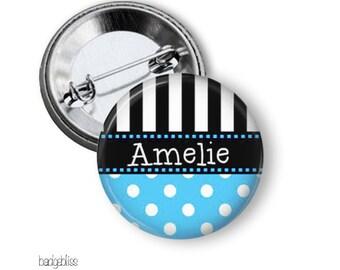 Polka Dot Stripe pinback button badge or fridge magnet