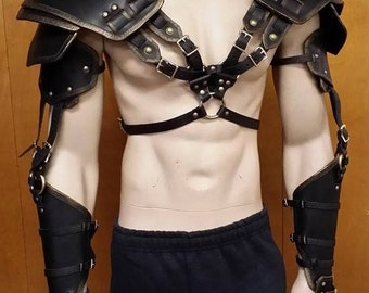 Leather Armor Double Strap Full Arm Harness