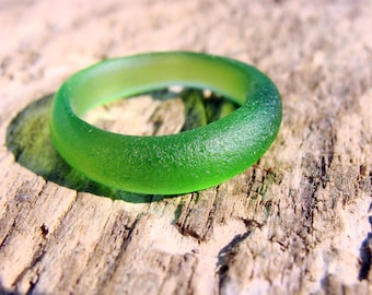 Green Sea Glass Ring Upcycled Jewelry Beach Glass Ring Summer Jewelry Genuine Sea Glass Jewelry