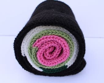 Sushi Scarf, California Roll Scarf, Sushi Lover, Novelty Gift, Gift for Friend, Knit Scarf,
