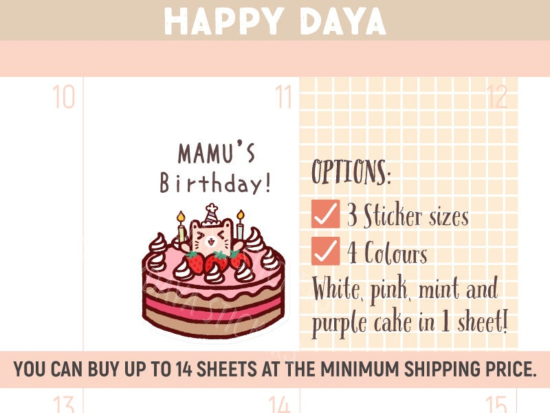 Cute Birthday cake stickers Kawaii Birthday cake stickers