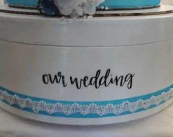 white with blue trim wedding cake stand