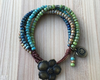 Stacked Bracelet, Beaded Bracelet, Boho Wrap Bracelet, Button Jewelry, Seed Bead Leather Wrap Bracelet, Bohemian Leather Wrap Bracelet