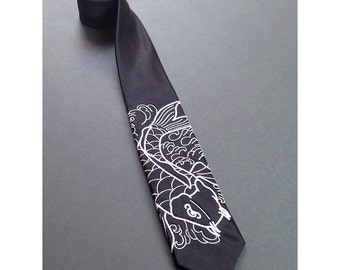 Embroidered Japanese Koi Tie