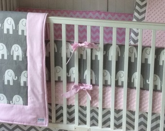 Crib Bedding Set Light Pink And Gray