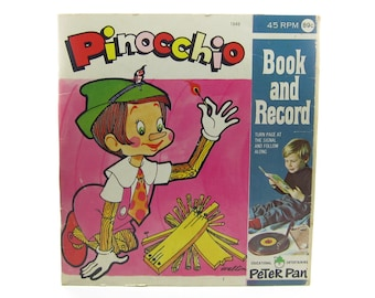 Pinocchio Record & Book Set Vintage Peter Pan Records Read Along Children's Story