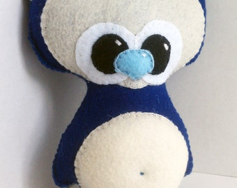 Handsewn big eyed, pot belly, felt cuddle monster creature plush  or stuffed animal- choose your color