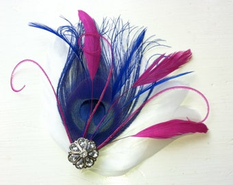 MARISA Royal Blue, Fuchsia, and White Peacock Feather and Crystal Hair Clip, Feather Fascinator, Bridal Hair Piece