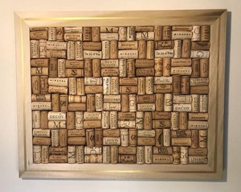 Wine Cork Board- Gold Stripe Frame