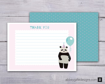 Panda Thank You Card, Panda Thank You Note, Printable Thank You Note, Printable Thank You Card, Pink and Blue Thank You, Instant Download