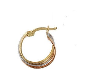 Tri-color Gold 14k Overlap Hoop Earrings