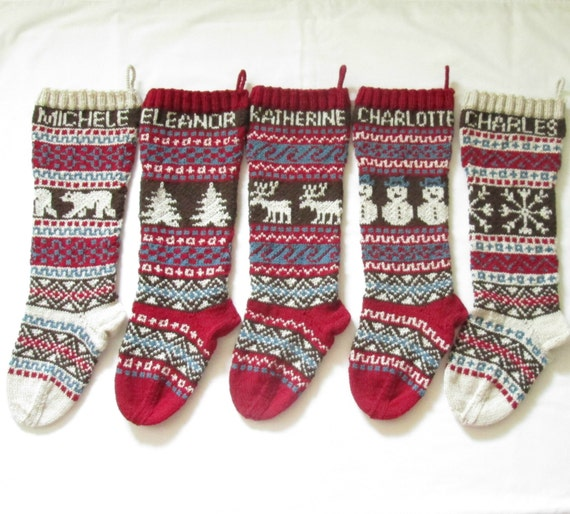 Personalized Knitted Christmas Stockings Set of 5 Hand