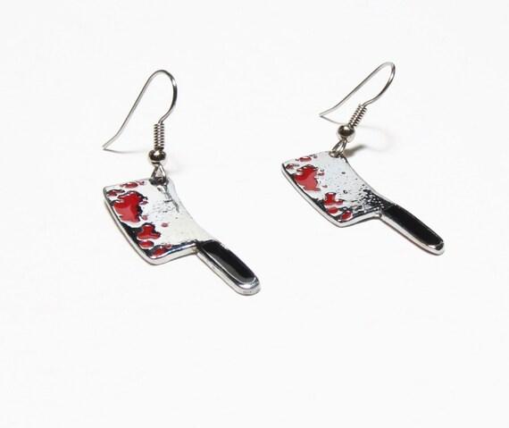 Serial Earrings: Butcher Knife Earrings-Creepy Cute-Bloody Knife-Serial