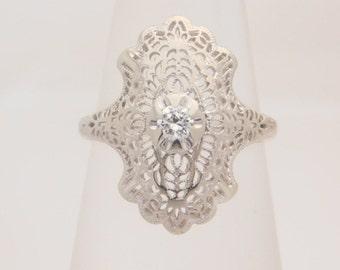 0.10 Carat Round Cut Diamond Ring 14K White Gold