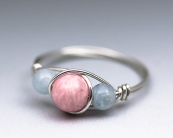 Rhodochrosite & Aquamarine Sterling Silver Wire Wrapped Gemstone Bead Ring - Made to Order, Ships Fast!
