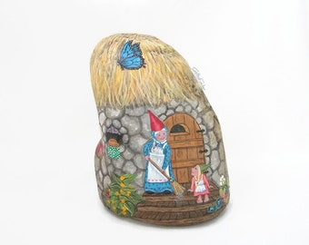 Painted rock, painted stone, gnome cottage, gnome family, mouse, garden gnome, garden decor, gnome house, painted gnome, strawberries, bee