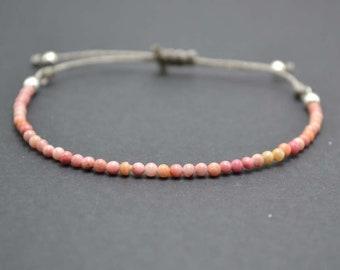 Rhodonite Bracelet /  Pink Bracelet /Silver Bracelet / Friendship Bracelet / Pound Bracelet / Stackable Bracelet / Minimalist Bracelet.