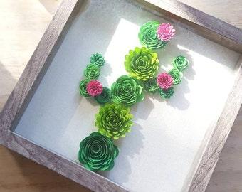 Paperflower Cactus Shadowbox