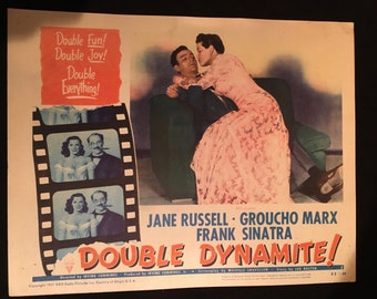 Original 1952 Double Dynamite Movie Poster Lobby Card, Groucho Marx, Jane Russell, Frank Sinatra, Rat Pack