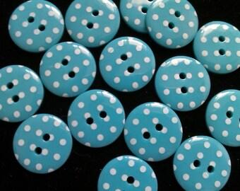 30pcs Cute retro Buttons 15 mm blue
