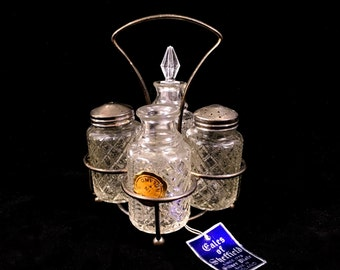 Glass Cruet Set with Silver Plated Holder and 4 Crystal Cut Vintage Bottles, Made in England by Eales of Sheffield
