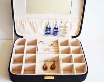 Jewelry Display Box, Jewelry Storage Box, Jewelry Box, Black Suede Box, Black Faux Suede