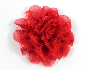 3.75 inch Chiffon Lace Flower in Red - Flower Head for Headbands and DIY Hair Accessories