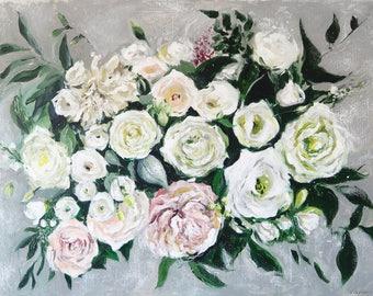 "Floral Painting Flowers Art Acrylic Original // ""Stone Petals"" 30 x 40"" Canvas"