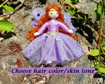 Fairy Doll, Fairy Toys, Flower Fairy, Miniature Fairy Dolls, Fairy Dolls, Fairy Gift, Tiny Fairy Dolls, Light Purple Sparkle Fairy