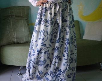 Blossom - Blue Floral Printed Linen Mix Cotton Skirt