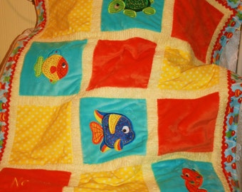 "Fish Appliqued Minky Baby Blanket ""Adorable Sea Creatures"""