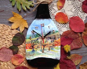 Wall Clock melted bottle champagne autumn vineyards provence home decor fused glass art fusing hand painted kitchen shabby chic housewarming