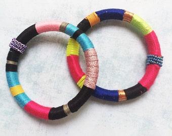 2 Wrap bracelet - bangle - cuff bracelet - fabric bracelet - boho