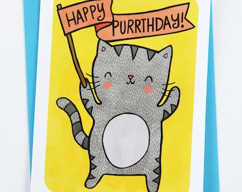 Happy Purrthday Kitty Cat -funny birthday card for boyfriend birthday card friend birthday card best friend cat birthday card pun cute card