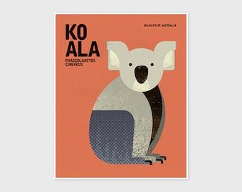 KOALA, Wildlife of Australia, Nursery Animal Wall Art Print, Educational Kids Poster Print, Retro Vintage Minimalist Illustration