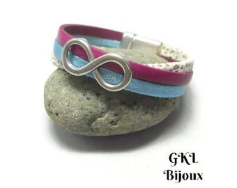 Bracelet leather cuff leather 5mm flat leather fuschia, Blue Metallic and white speckled, magnetic closure, passing infinity