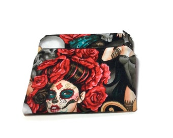 Reusable Snack Bags Set of 2 Pink Black Red Roses Tattoo Day of the Dead