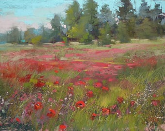Original Pastel Painting RED Poppy Meadow  Landscape 11x14  by Karen Margulis psa