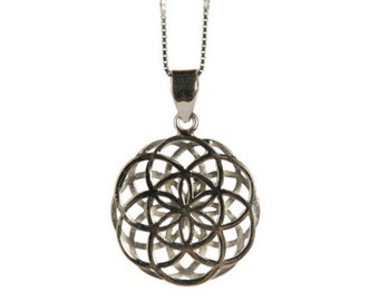 Seed of Life Pendant - Double Seed of life Necklace Sterling Silver Yogi Jewellery Geometry Jewellery Handmade Free  delivery