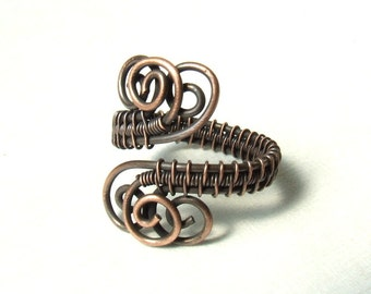 Copper rustic ring, natural copper jewelry, antique look boho women gift