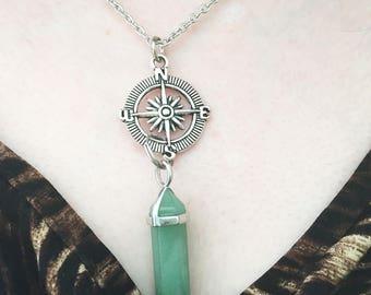 Compass Crystal Necklace/ Crystal Compass Necklace/ Custom Crystal w Compass/ Travel/ Good Luck/ Graduation/ Amethyst/ Howlite/ Rose Quartz
